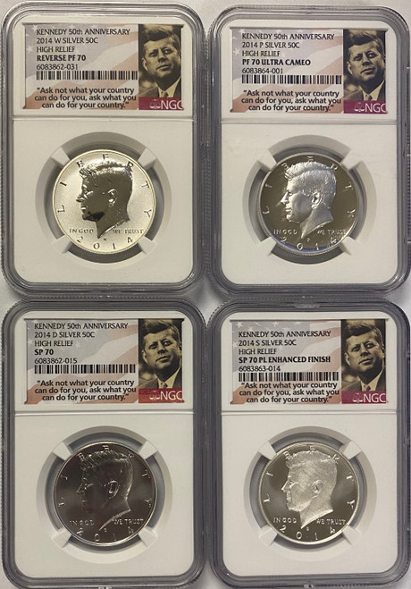 2014 50th Anniversary Kennedy Half Dollar 4-pc Set NGC 70 w/ Rare PL Coin