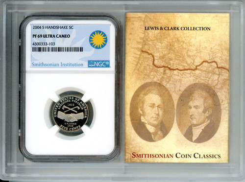 2004-S Handshake Nickel NGC PF69 UCAM - Smithsonian Label in Story Vault