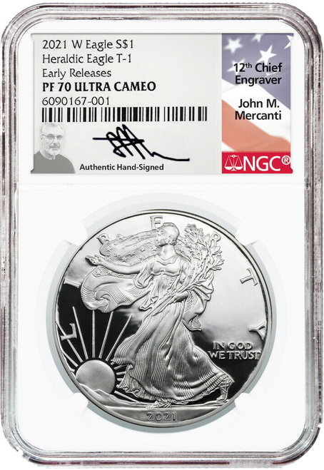 2021-W Proof Silver Eagle NGC PF70 UCAM Early Releases John Mercanti Signed  obverse