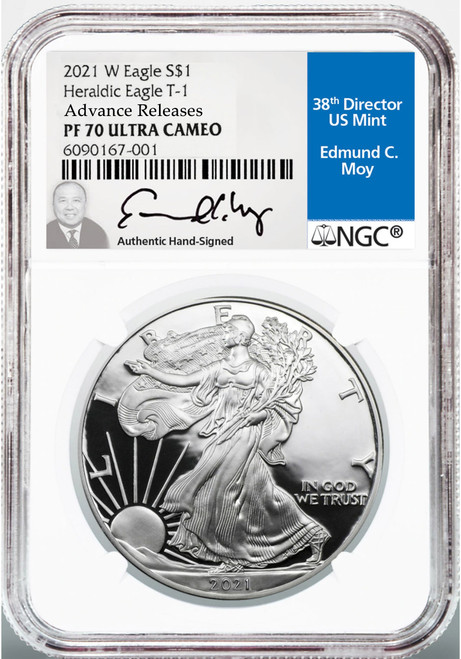 2021-W Proof Silver Eagle NGC PF70 UCAM Advanced Releases - Ed Moy