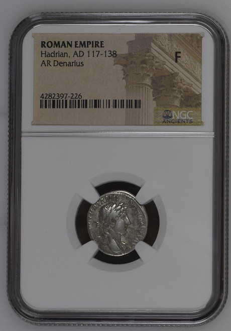 AD 117-138 Silver Denarius of Hadrian NGC F - Builder of Hadrian's Wall