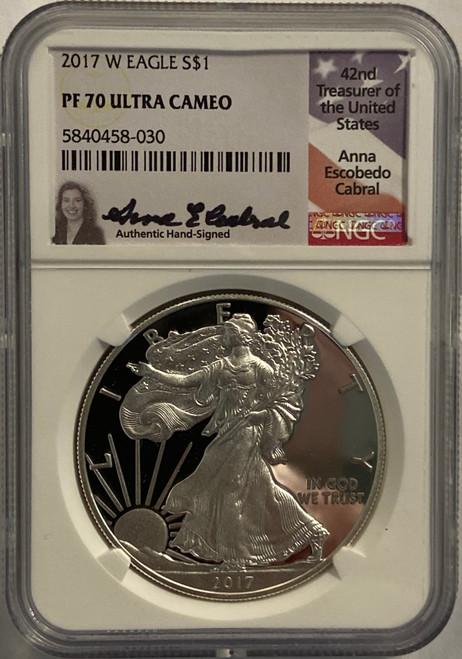 2017-W Silver Eagle NGC PF70 UCAM Anna Cabral Signed