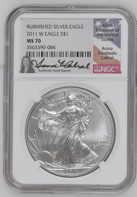 2011-W Burnished Silver Eagle NGC MS70 Anna Cabral Signed