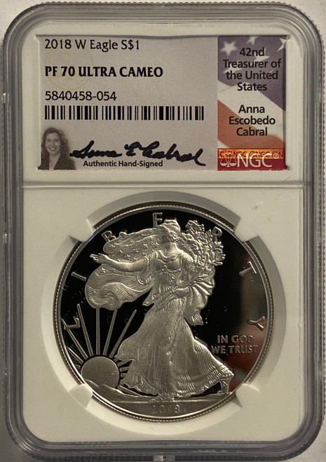 2018-W Proof Silver Eagle NGC PF70 UCAM Anna Cabral Signed - 1/16