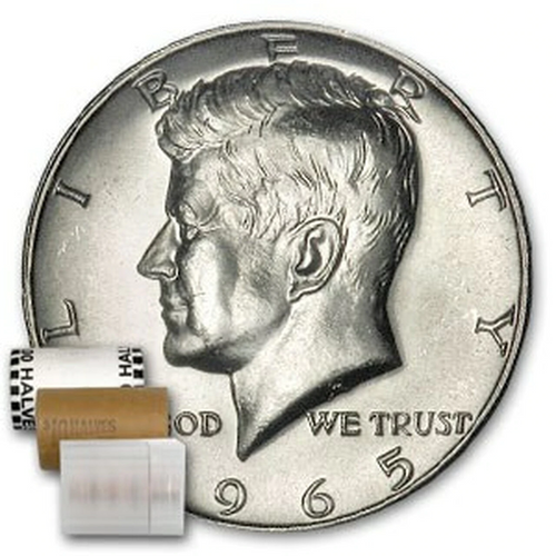 1965 40% Silver Kennedy Half Dollar BU (Roll of 20)