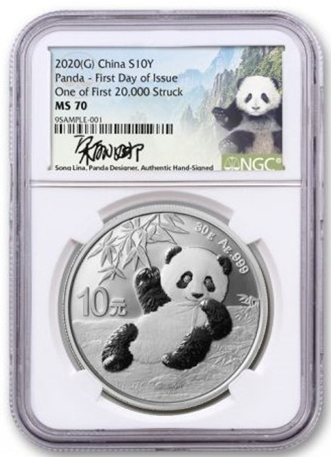 2020 (G) China Silver Panda NGC MS70 First Day of Issue Song Ling Signed