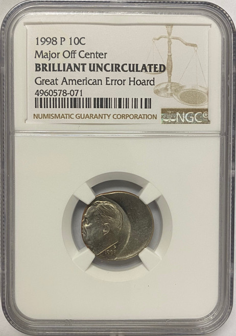 1998 Roosevelt Dime NGC - Major Off Center from Great American Error Hoard