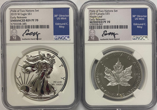 2019 Pride of Two Nations 2-Coin Set NGC PF70 Early Releases Ed Moy