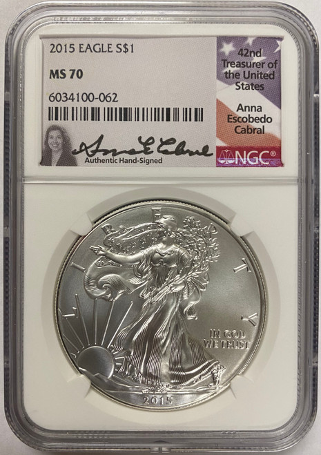 2015 Silver Eagle NGC MS70 Anna Cabral Signed