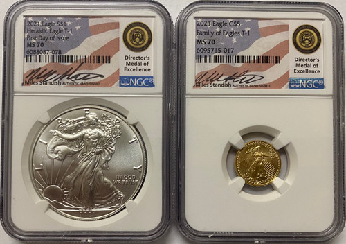 2021 $1 and $5 Silver and Gold Eagle NGC MS70 First Day of Issue Miles Standish - 2 coin set