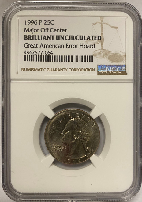 1990's Washington Quarter NGC - Major Off Center from Great American Error Hoard