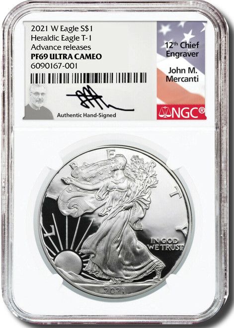 2021-W Proof Silver Eagle NGC PF69 UCAM John Mercanti - Advanced Release