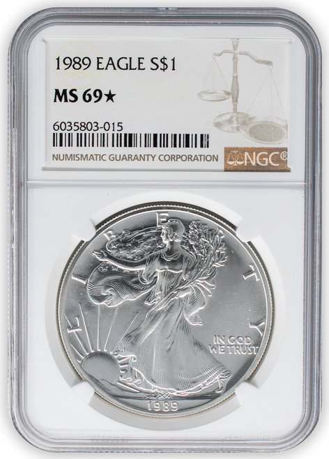 1989 Silver Eagle NGC MS69 * Star