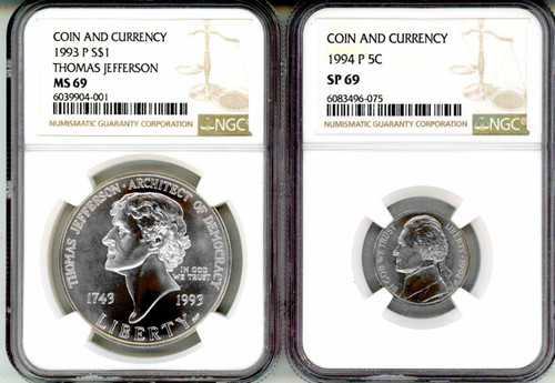 1993 Jefferson 3-Coin Set NGC MS/SP69 & 1976 $2 Federal Reserve Note PMG 64 EPQ