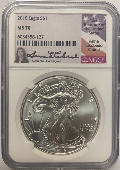 2018 Silver Eagle NGC MS70 Anna Cabral Signed