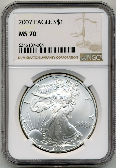 2007 Silver Eagle NGC MS70 - Before the Change