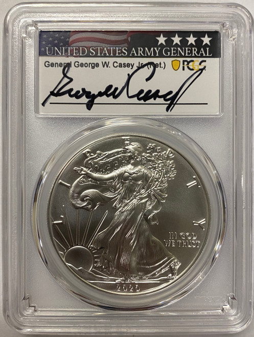 2020 Silver Eagle PCGS MS70 First Day of Issue General Casey Signed