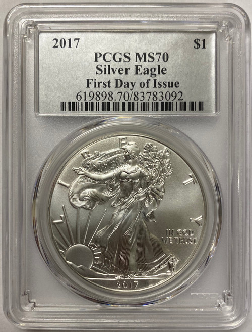 2017 Silver Eagle PCGS MS70 First Day of Issue - Exclusive Silver Foil Label