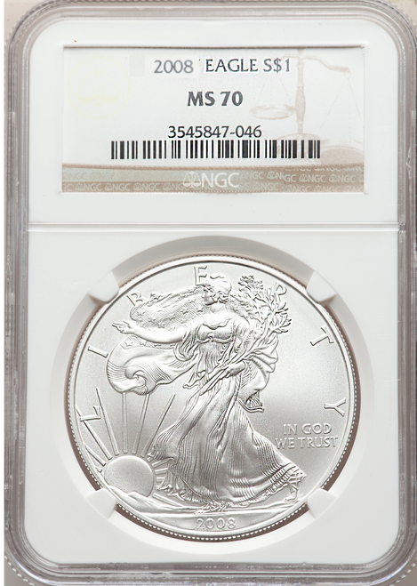2008 Silver Eagle NGC MS70