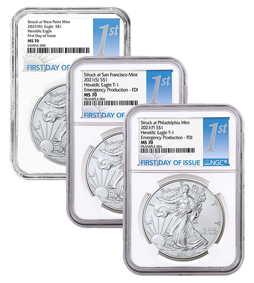 2021 (W) (P) (S) Silver Eagle NGC MS70 First Day of Issue - Complete 3 Coin Mint Set