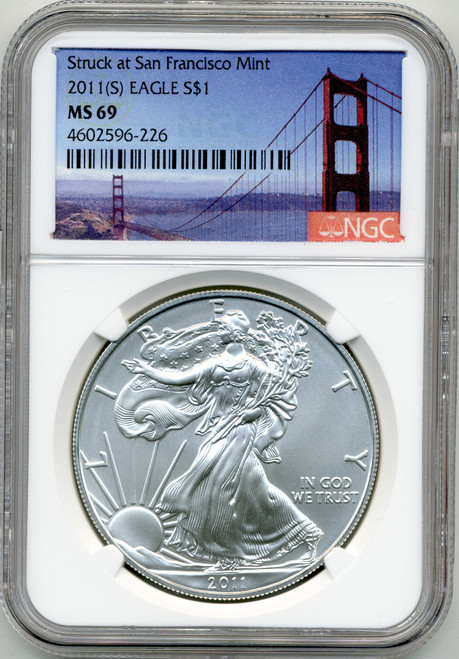 2011 (S) Silver Eagle NGC MS69 - Struck at San Francisco