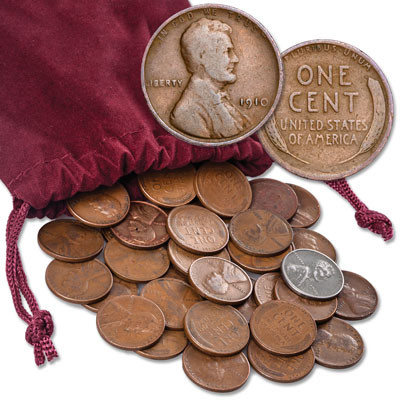 Wheat Penny Bag of 500 Wheat Cents includes steels,