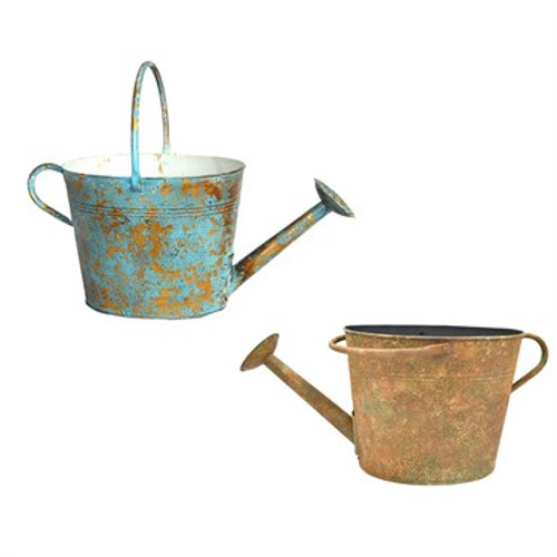 "13"" Watering Can Metal Planter Vintage"