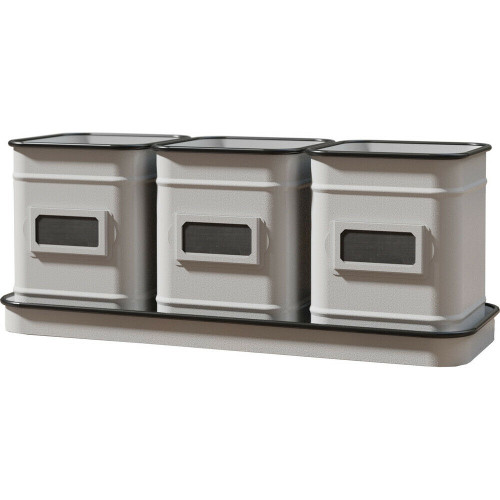 3 Canister White Planter w/Tray & Chalkboard Panels