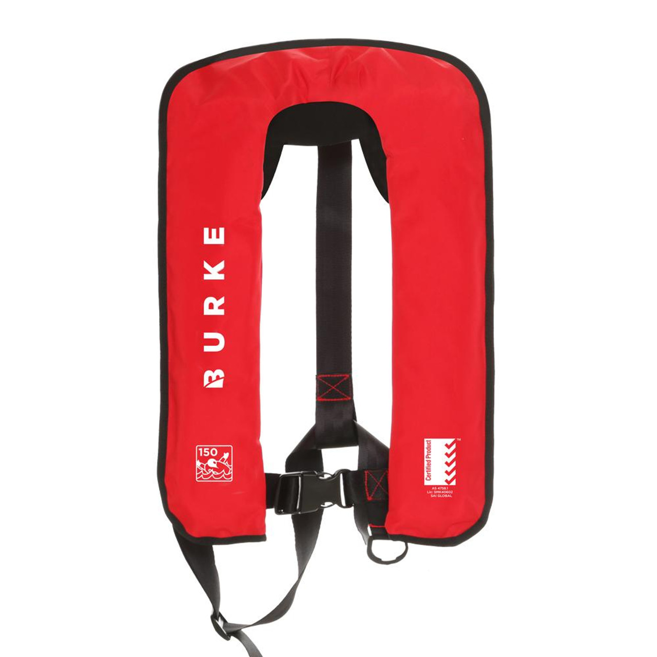 Burke Lifejacket Red 150N Manual Inflatable PFD