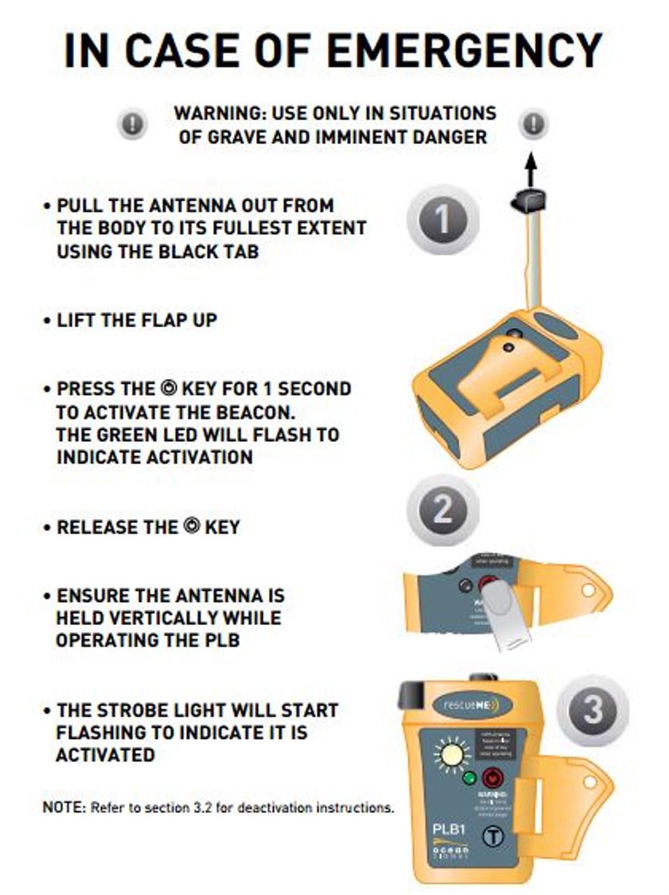 rescueMe PLB1 simple activation instructions