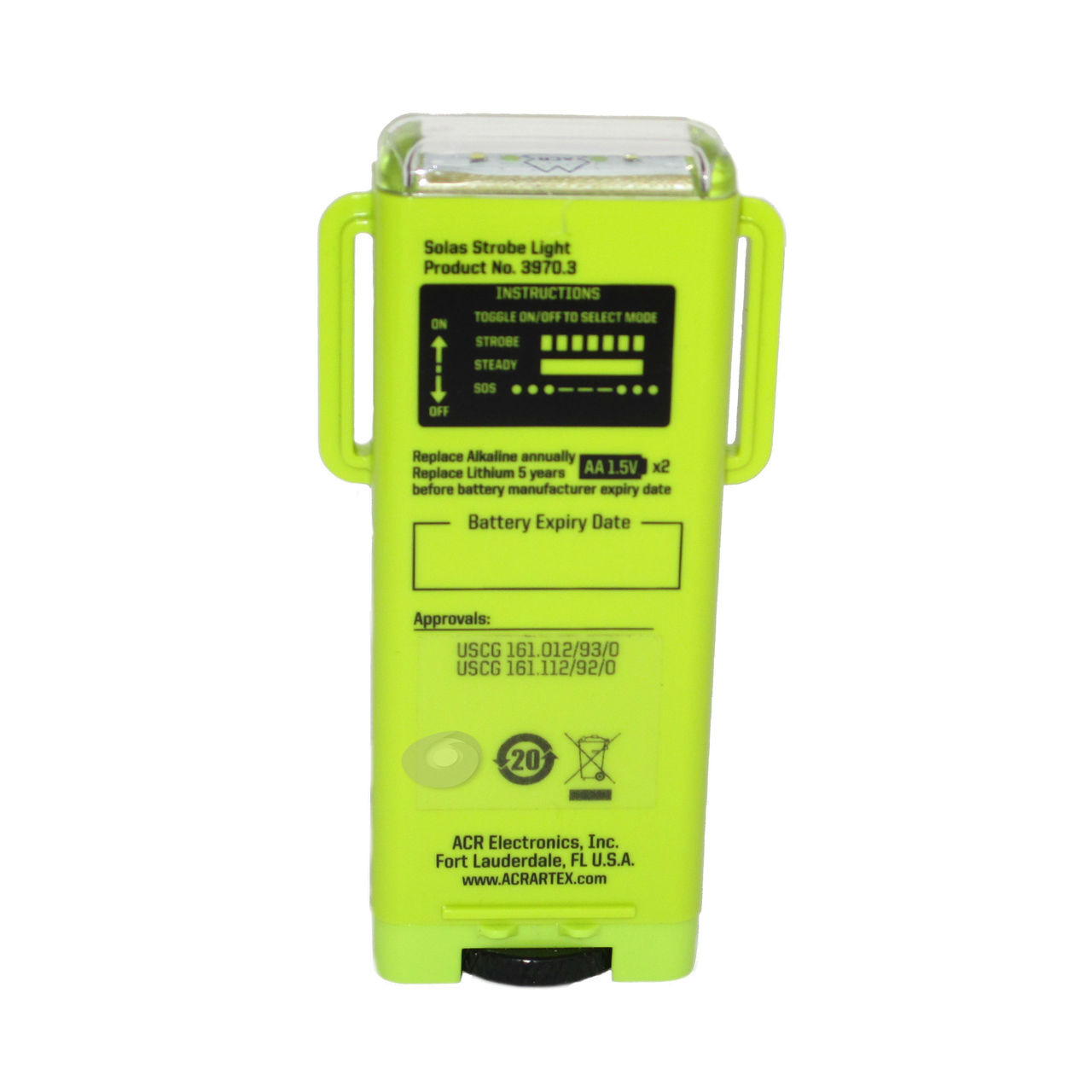 With a single set of AA alkaline batteries, (Skippersmate recommends Lithium batteries) the Firefly PRO will continuously strobe for over 56 hours or use the Steady-On feature for 28 hours. That is twice as long as our competitors and exceeds USCG and SOLAS requirements by over 48 hours.