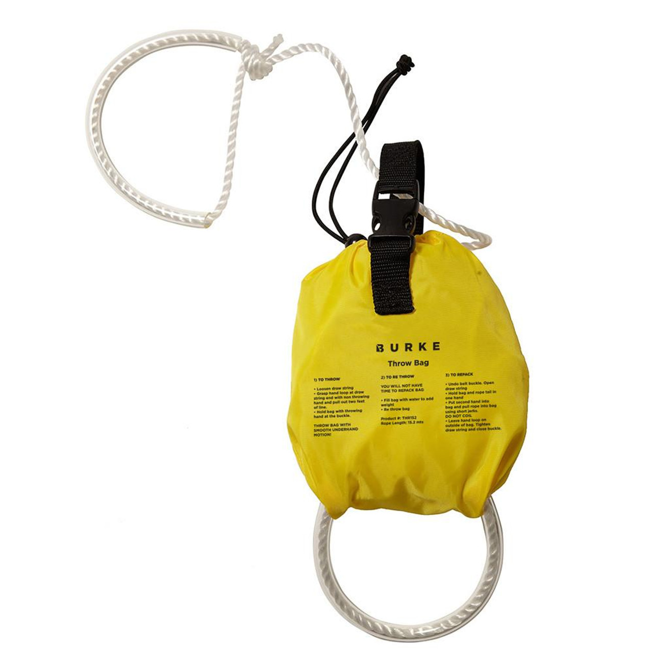 Features | Grab handles at each end of the line | 15.2 metres of 8mm floating rope | Nylon bag | Clear instructions printed on the bag | Quick release draw string with toggle | Webbing attachment handle with quick release buckle