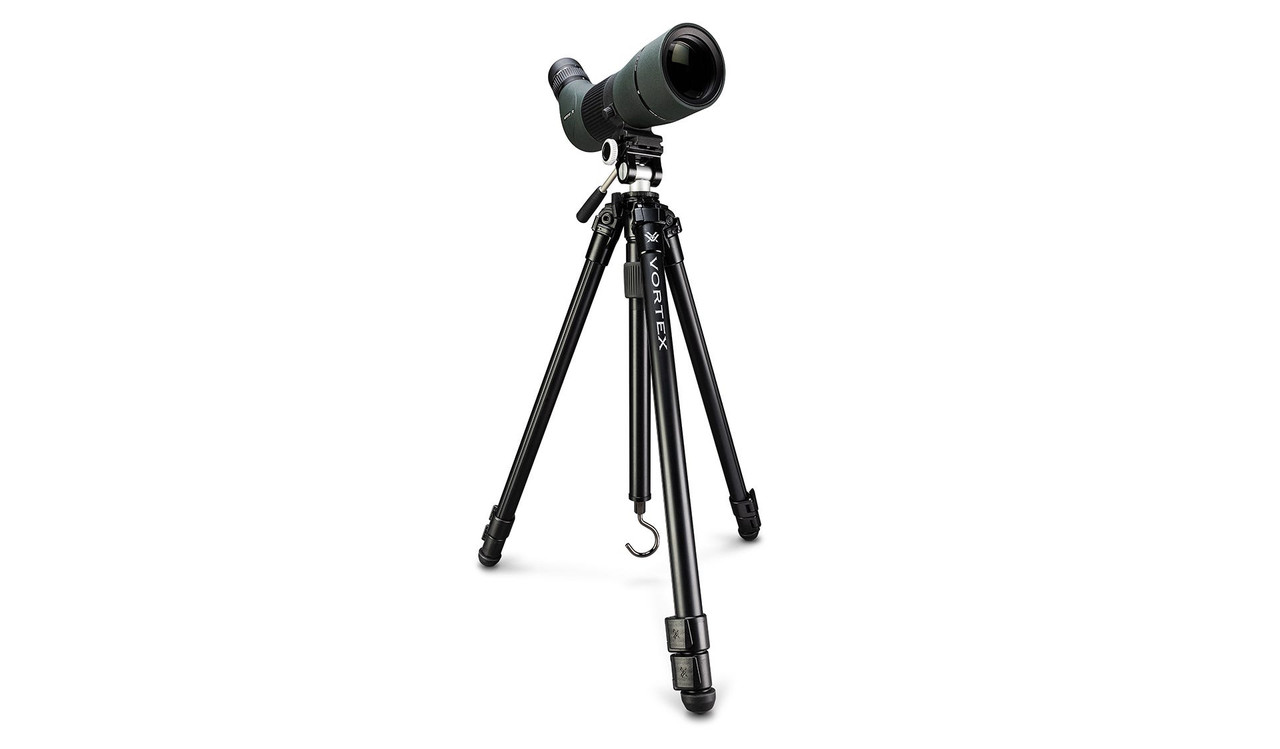 HIGH COUNTRY™ II ALUMINUM TRIPOD + PAN HEAD - note, Scope in image not included in kit.