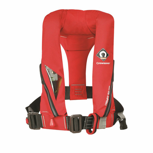 Genuine Premium Crewsaver Crewfit Junior (Child)150N Red Automatic with Crutch Strap, Chin Support, Harness Loop - Centre Metal Buckle Adjuster Lifejacket