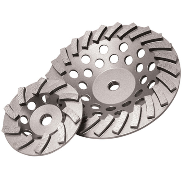 """Diamond Products 4"""" x 5/8-11"""" Delux-Cut Spiral Turbo Cup Grinder"""