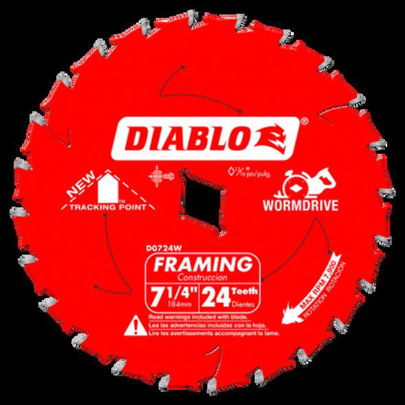 "Diablo 24-Tooth Circular Saw Blade for Wood 7-1/4"" Worm Drive"