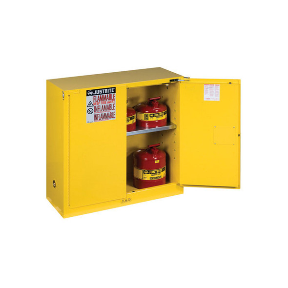 Justrite 30 Gallon 1 Shelf Flammable Storage Cabinet with 2 Self Closing Doors