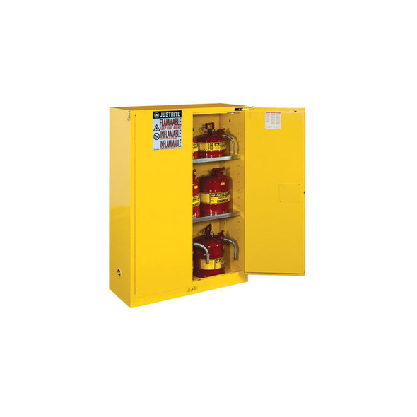 Justrite 45 Gallon 2 Shelf Flammable Storage Cabinet with 2 Self Closing Doors - Yellow