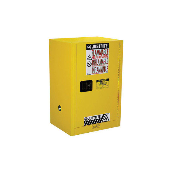 Justrite 12 Gallon 1 Shelf Flammable Storage Cabinet with 1 Self Closing Doors