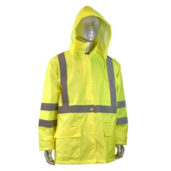 RW10-3S1Y Lightweight Rain Jacket - Hi Viz Green - Hood Up
