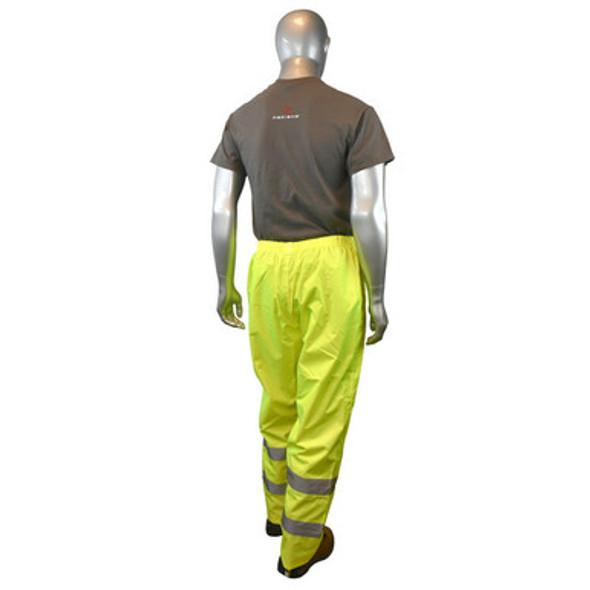 RW10-ES1Y Lightweight Rain Pants - Hi Viz Green - Back