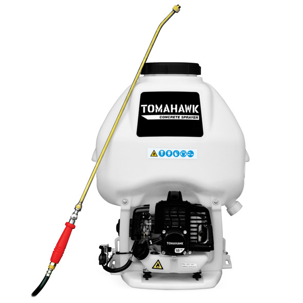 TOMAHAWK 6.5 Gallon Backpack Concrete Finish Sprayer with 1.8HP Engine and Wand Attachment .5 GPM Fan Nozzle Included