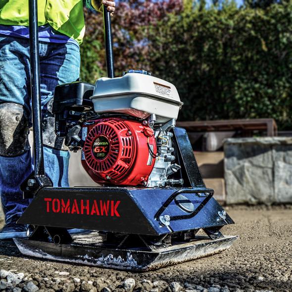 TOMAHAWK 5.5 HP Honda Vibratory Plate Compactor Tamper for Dirt, Asphalt, Gravel, Soil Compaction with GX160 Engine