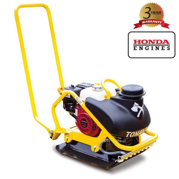 TOMAHAWK 5.5 HP Honda Vibratory Plate Compactor Tamper for Dirt Asphalt Gravel Soil Compaction with 3.5 Gallon Water Tank and GX160 Engine