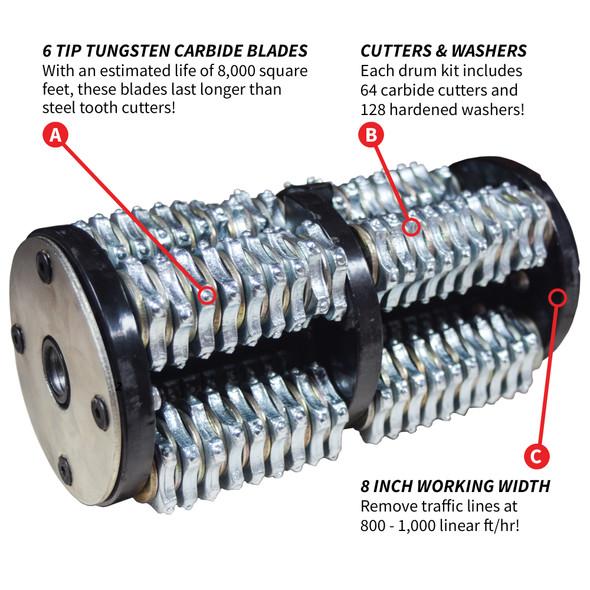 """TOMAHAWK 8"""" Tungsten Carbide Teeth Blade Drum Kit for Concrete Scarifier Planer Grinder"""