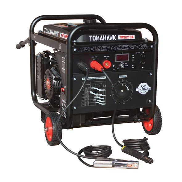 TOMAHAWK Welder Generator Stick Welder Engine Driven 210 Amp 15 HP Gasoline Portable 2,000 Watt Quiet Inverter Generator Engine