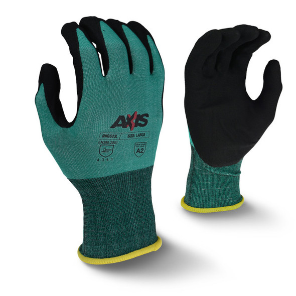 RWG533 AXIS™ Cut Protection Level A2 Foam Nitrile Coated Glove - Top - Bottom