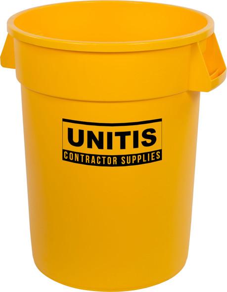 Round Waste Bin Trash Container - Yellow