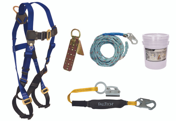 Roofer's Kit with Hinged Reusable Anchor and Manual Rope Adjuster