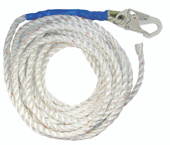 Premium Polyester Blend Vertical Lifeline with Taped End - 30'